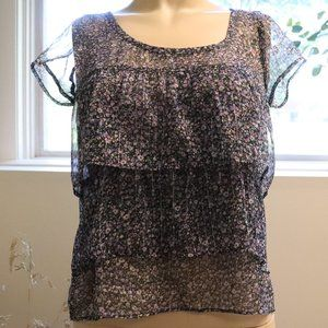American Eagle Sheer Floral Layered Tiered Top